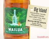 Wailua Beer Bottle Soy Candle Handmade in Hawaii Recycled bottle Waterfall design Maui Hawaii Gift Hawaiian Vacation Honeymoon Anniversary