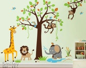 Safari Jungle Animals Monkey Giraffe Elephant Lion Wall Decal Tree Set Nursery Kids Playroom Room Decor Vinyl Wall Decal Sticker Art