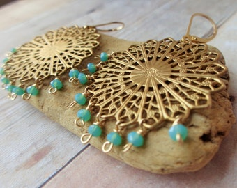 Gold Filigree Medallion Earrings, Floral Medallion Earrings with Blue Green Glass Beads.
