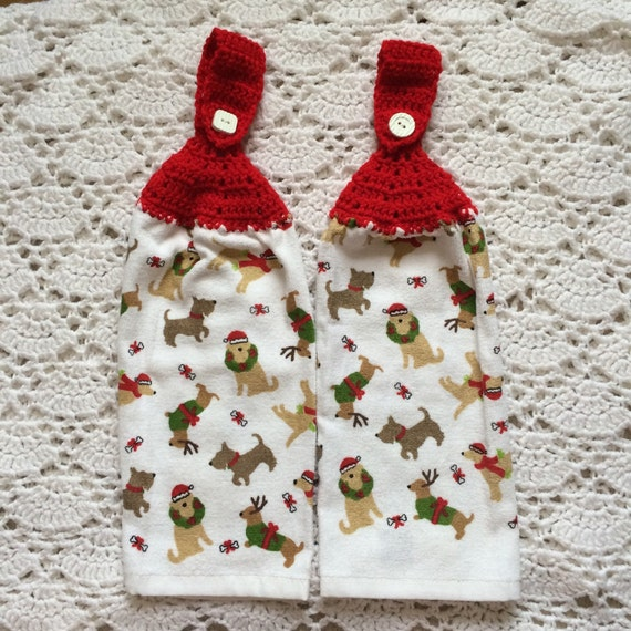 Kitchen Towels Xmas: Christmas Dog Kitchen Towel Set Of Two Crochet Top By