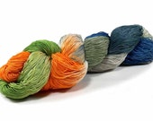 150 Yards Hand Dyed Cotton Crochet Thread Size 10 3 Ply  Thread 3 Shades of Green Orange Grey and Blue Hand Painted Fine Cotton Yarn