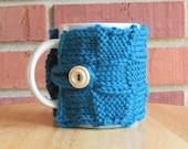 Knitted basket weave patchwork mug cozy cup cozy in dark teal