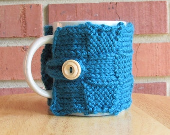 Knitted basket weave patchwork mug cozy cup cozy in dark teal