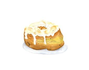 Artisinal Lemon Thyme Donut Original Watercolor Painting