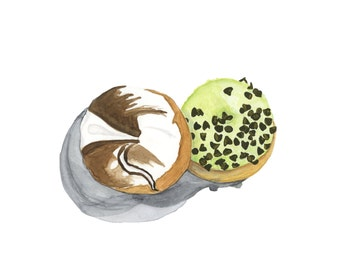 Marble and Pistachio Glazed Donuts Original Watercolor Painting
