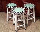 Painted bar stool // round top//whimsical painted stool