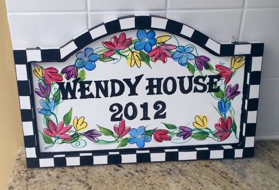 Hand Painted House Number Sign address sign plaque custom wood sign plaque