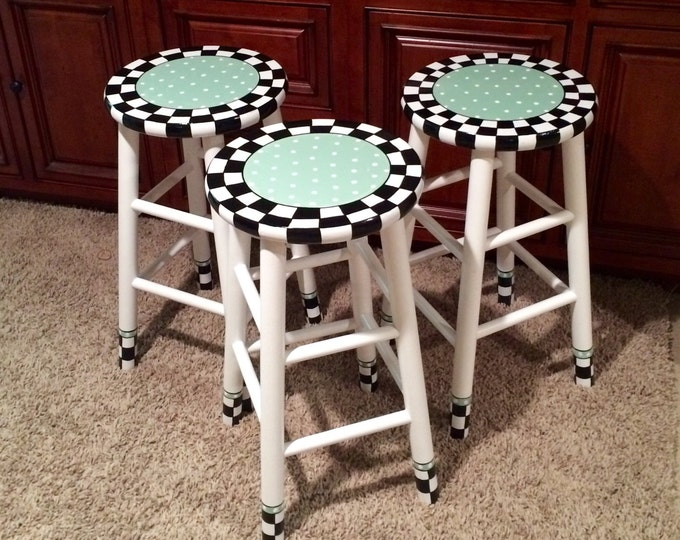 Whimsical Painted Furniture, Painted bar stool // round top//whimsical painted stool
