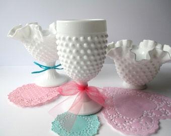 Vintage Fenton Milk Glass Hobnail Vase Bowl Goblet Collection of Three
