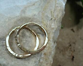 12 Illusion Hoop Earrings Gold Hammered 2mm - Mens Hoop Earrings, Gold Hoop Earrings, Hammered Hoop Earrings, Everyday Earrings, Sleeper
