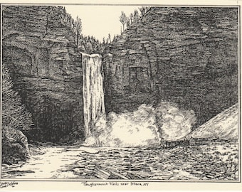 Taughannock Falls-This 6-pack of blank, ivory cards w envelopes features an ink drawing by LC DeVona of Taughannock Falls near Ithaca, NY