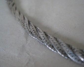 Sterling Silver Bracelet Flat Woven Chain Vintage 925