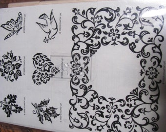 Wow...Lowered Price NIB Set 7 Stampin Up VICTORIAN FRAME Stamp Set flowers butterfly bird acorns holly