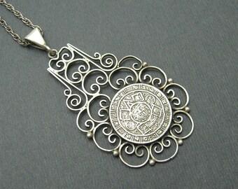 Artisan Sterling Pendant Wire Work Mayan Tribal  Vintage Jewelry N6569