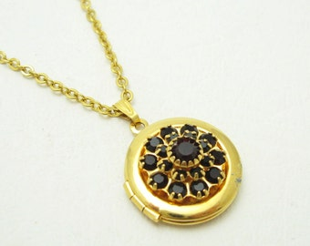 Rhinestone Locket Red Vintage Jewelry N3812