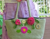 The Rose  -  A Pale Green Felted Handbag Enhanced with Crocheted and Needle Felted Roses