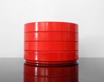 4 Small Melamine Plates / Red / Scandinavian / Mid Century