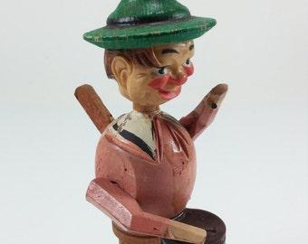 Vintage German  single tambourine player  animated bottle stoppers kitschy folk art hand carved wine bottle cork