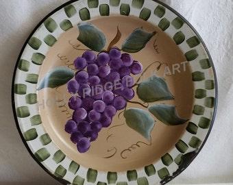 Handpainted, Folk Art, Primitive, Vintage, Enamelware, Bowl, Grapes
