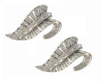 Rhinestone Earrings, Vintage Baguette Motif, 1940s Fine Vintage Bridal Jewelry, Wedding Jewellery