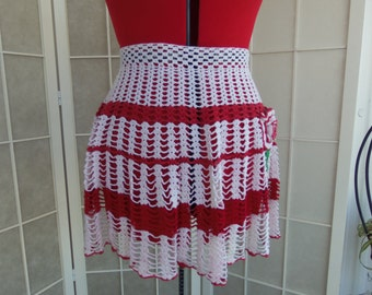Vintage mid century 1950's Crochet Red & White with Rose Hostess Apron