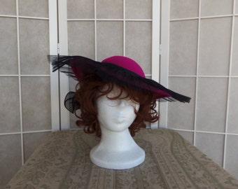 Vintage 1980's Sonni of San Francisco Fuchsia with Black Trim Women's Dress Hat