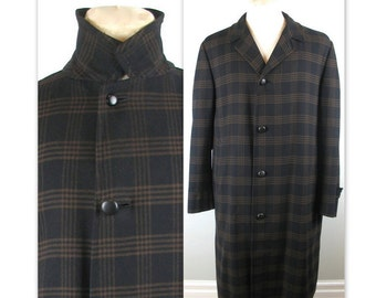 Vintage 50s Aquascutum Plaid Top Coat M wool with removable liner