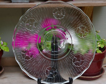 Vintage Clear Glass Platter Flowers Cake Plate