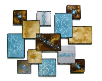 "Turquoise & Brown Textured Geometic Wooden Abstract Design Wall Sculpture ""Blue Laguna Square III"" 25x21"