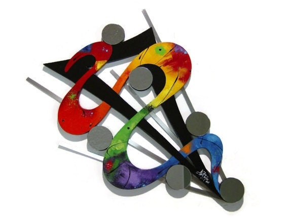 Rainbow Reflections Abstract wood Mirror & metal  wall sculpture
