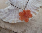 Lil Orange Vanda Orchid - Real Flower Necklace on antique silver chain, dried, preserved flower Jewelry, salmon, sweet, botany, fairy, girl