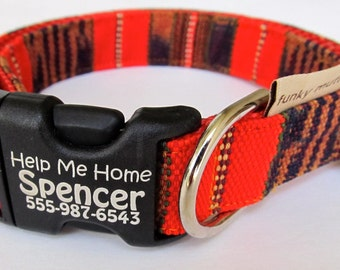 The Spencer…a bold orange and rust colored Guatemalan woven dog collar on nylon webbing with personalized engraved pet identification