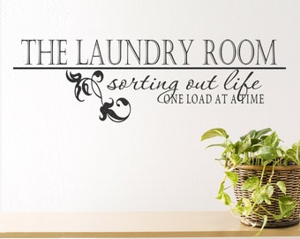 Laundry Room Wall Decal- Laundry Room Sorting Life One Load at a Time Elegant Vinyl Lettering Wall Quote Sticker