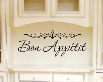 "Kitchen Wall Decal France ""Bon Appetit"" Elegant Script Kitchen Vinyl Lettering Wall Quote Sticker Sign"