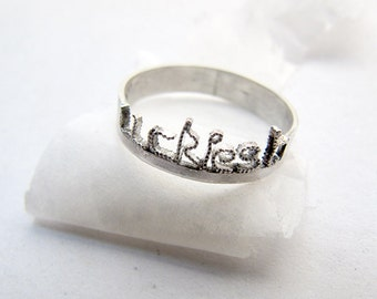 Personalized Silver ring, Custom Silver Ring, Silver Word Ring