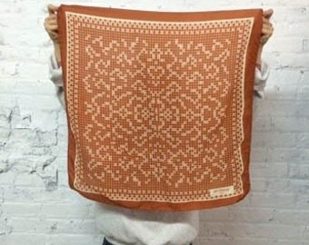 vintage 80s Guy Laroche silk scarf / geometric print scarf in burnt orange and cream