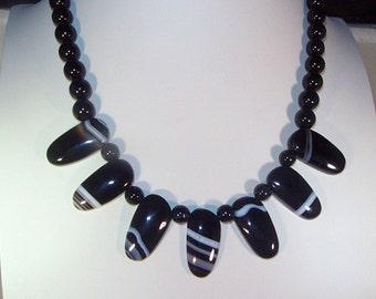 Gemstone Jewelry - Black Agate Statement Necklace