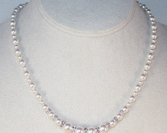 Swarovski Pearls & Crystals Bridal Necklace - Shown in SWAROVSKI WHITE - Available in Any Colors