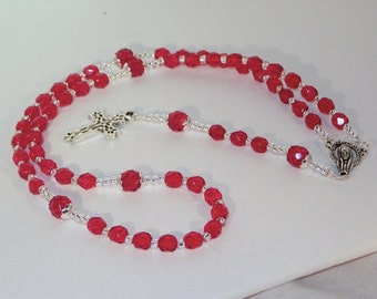 Czech Ruby Crystal & Silver Rosary - Jewish, Catholic or Anglican, Made to Order - SHIPS WITHIN 24 Hrs
