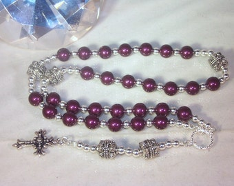 Swarovski Pearl Rosary - Anglican or Catholic - Made to Order - Shown with Blackberry Pearls