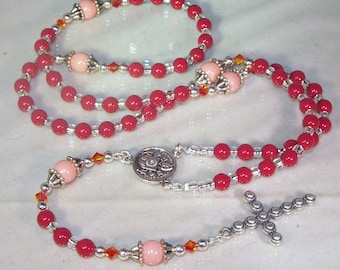 Swarovski Pearl Rosary - Catholic - Made to Order - Shown in Light and Dark Coral