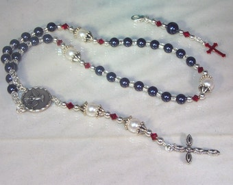 Swarovski Pearl Rosary - Anglican - Made to Order - Shown with Midnight Blue and White Pearls