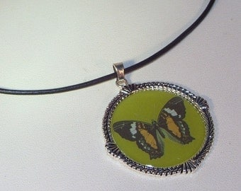 Leather Necklace - Butterfly Pendant on Black Leather Cord