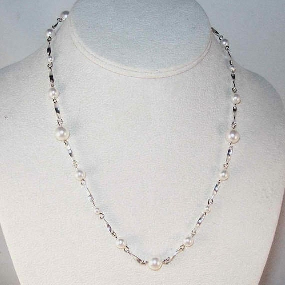 Swarovski Pearl Tin Cup Necklace - Made To Order - Shown in White