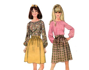 1960s Peasant Blouse and Skirt Pattern Dirndl Wrap Skirt Boho Blouse Long Sleeves McCalls 9133 Bust 36 OR Junior 31 Vintage Sewing Pattern