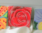 Trio of up close flower paintings floral spring painting collection of miniature fine artwork roses and lilies and more