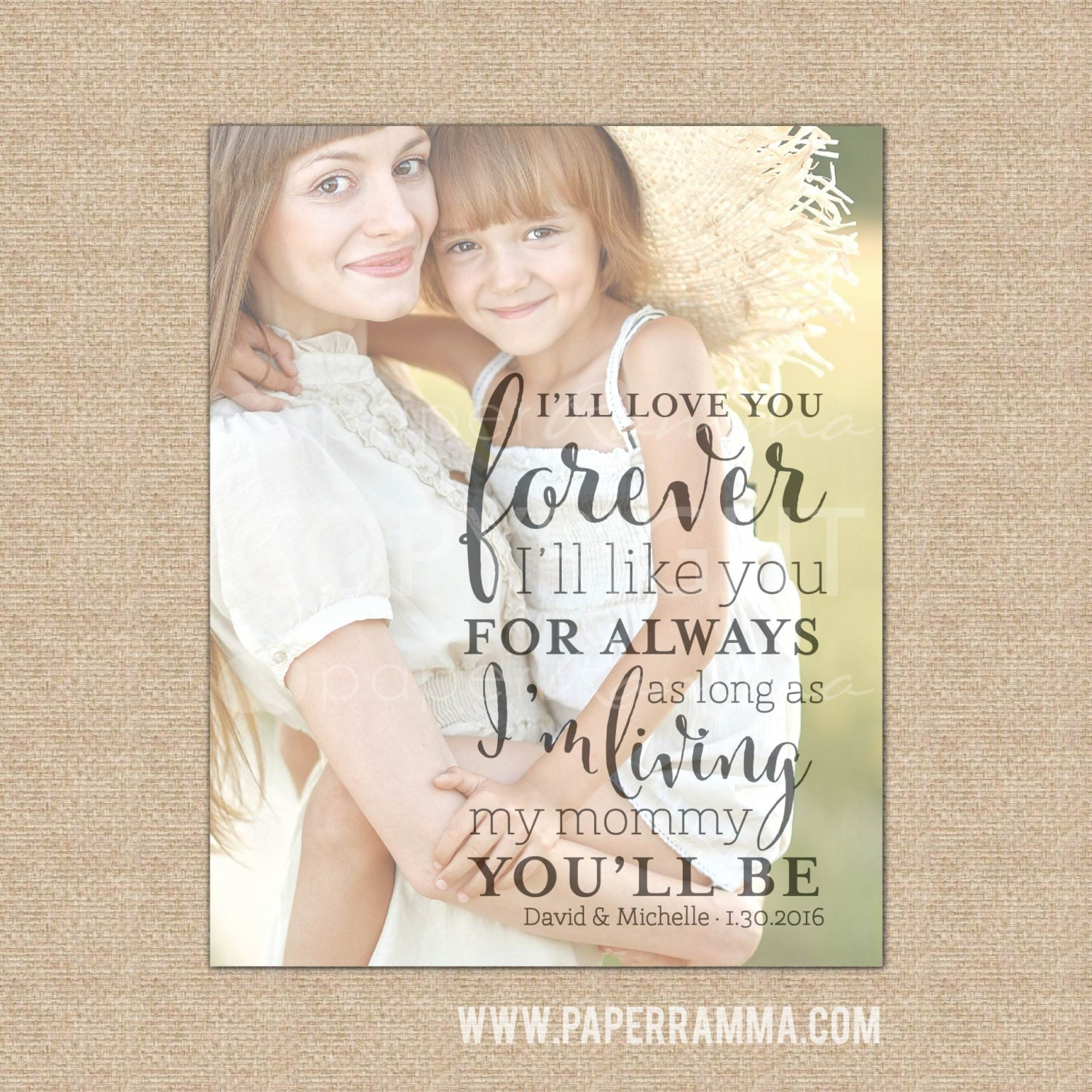 I Ll Love You Forever Quote: Mother Of The Bride Gift I'll Love You Forever Quote Art