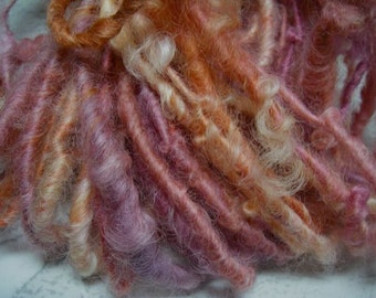 Handspun Soft Curly Worsted Weight Leicester Longwool Wool Art Yarn in Pink Lavender Cream Orange by KnoxFarmFiber for Knit Weave Felt