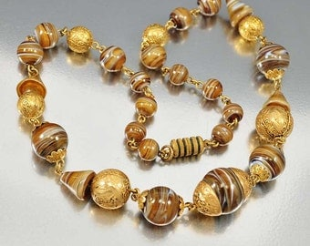 Art Deco Czech Glass Necklace, Gold Glass Bead, Vintage 1920s Antique Jewelry, Art Deco Jewelry Root Beer Brown Swirl