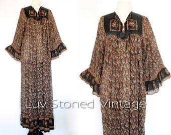 Vintage 70s Rare Oh Calcutta Cotton Gauze Caftan Hippie Kaftan India Indian Festival Gypsy Maxi Dress | SML | 1023.7.2.15